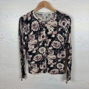LOFT Pima Cotton Pink Gray Floral Cardigan